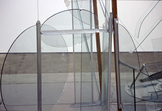Fallen Angel, 2002, Glass, aluminium, steel & wood, 3 x 3.6 x 1.4 m