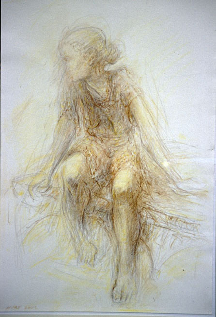 Caterina, 2002, Chalk pencil on paper, 38 x 56 cm