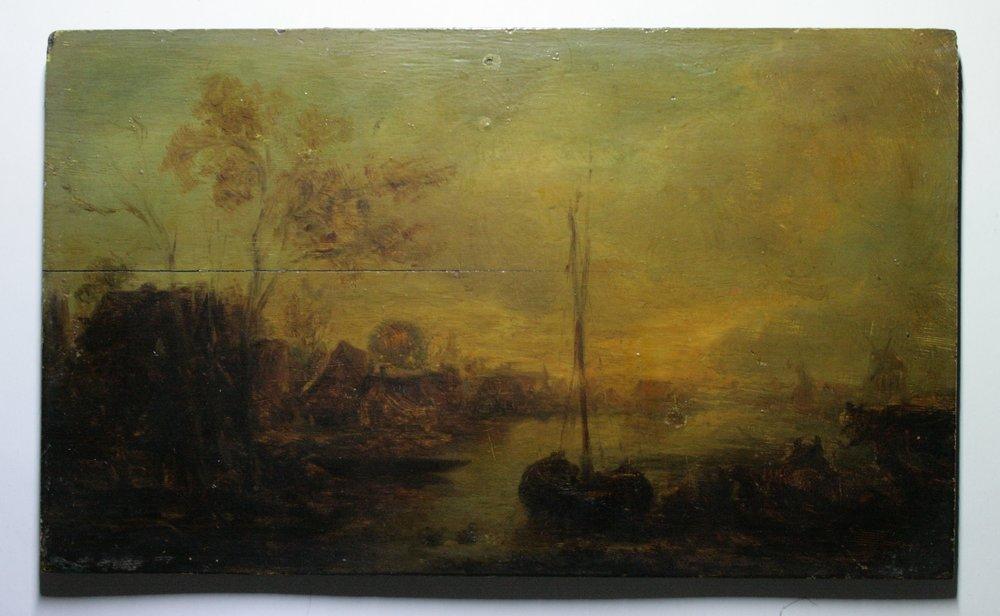 PAYSAGE AU BORD DE L'EAU - Jan Josephsz Van Goyen (XVIIe) - Peinture à l'huile sur panneau de chêne.