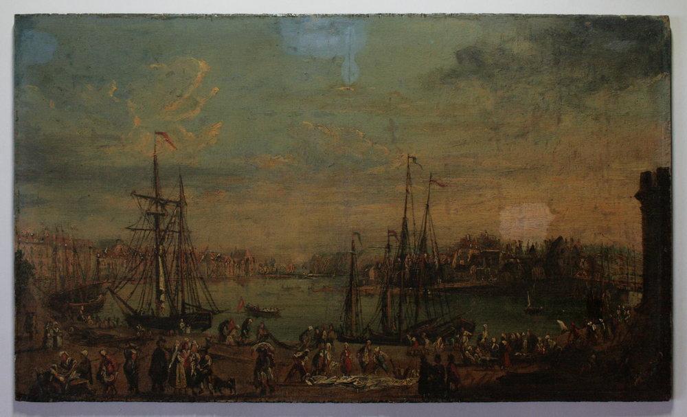 PORT DE DIEPPE (1765) - Emile Godchaux (XIXe) - Peinture à l'huile sur panneau de bois