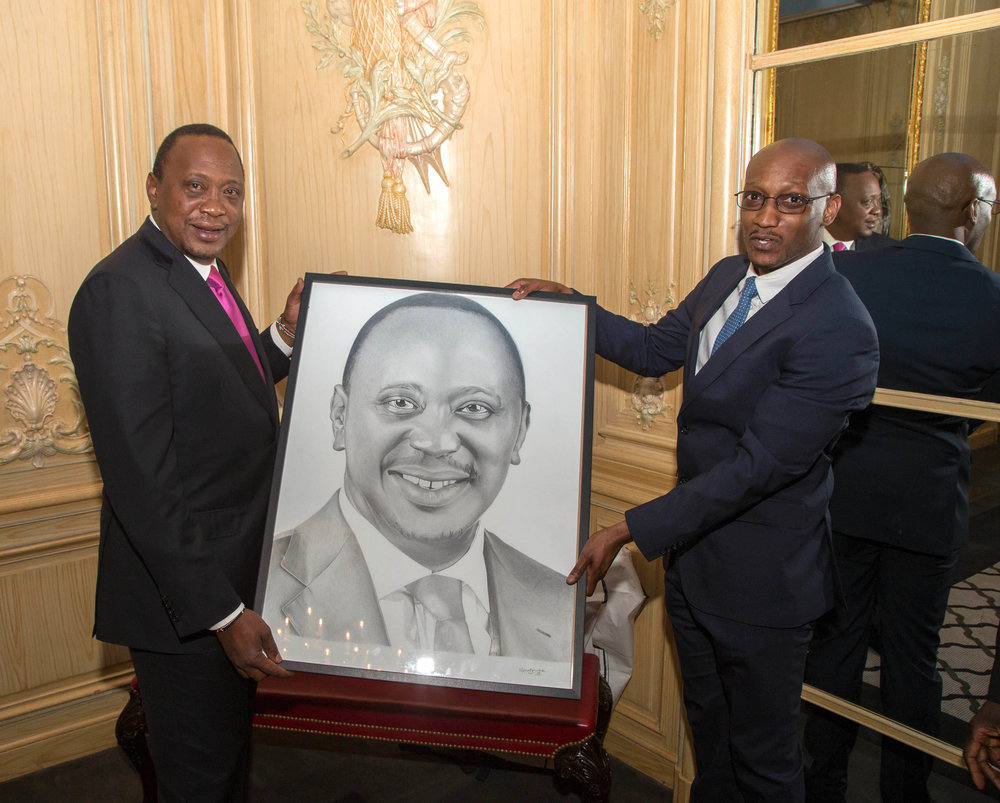 Nkosi Blake Art presenting The President of Kenya with realistic pencil portrait on his trip to London!