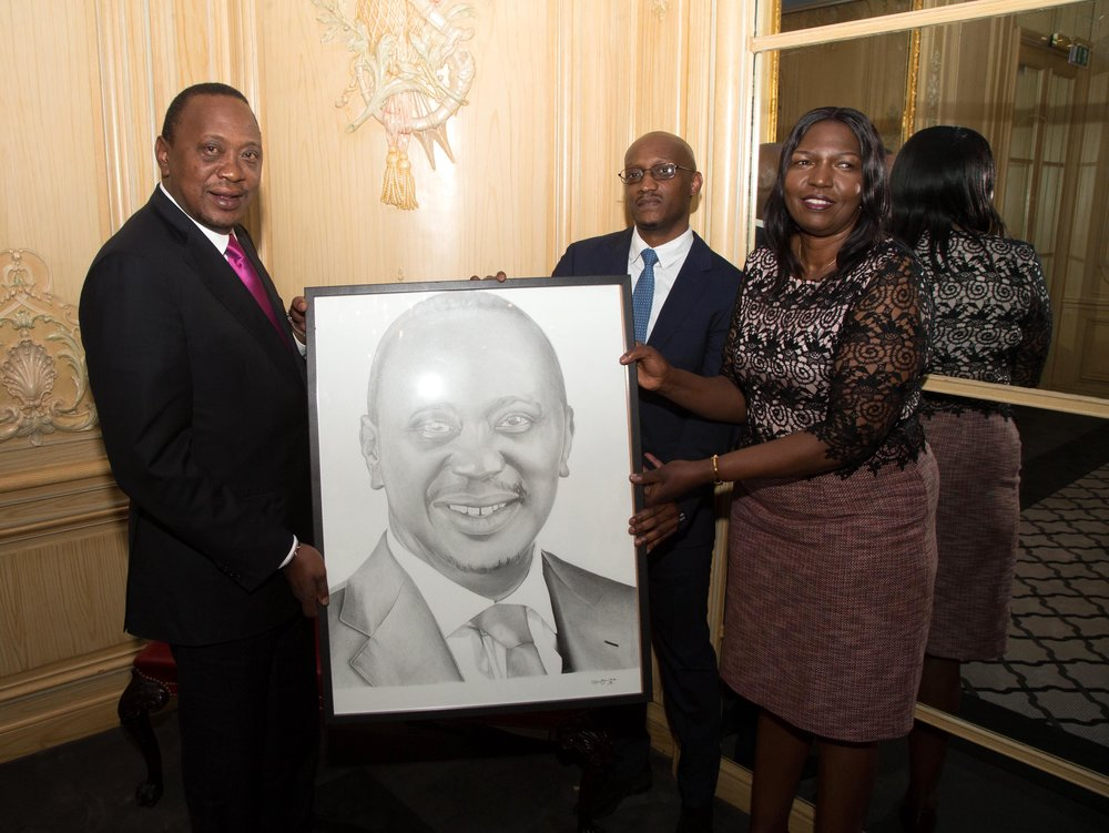Nkosi Blake Art and Rose Seko presenting The President of Kenya with realistic pencil portrait on his trip to London!