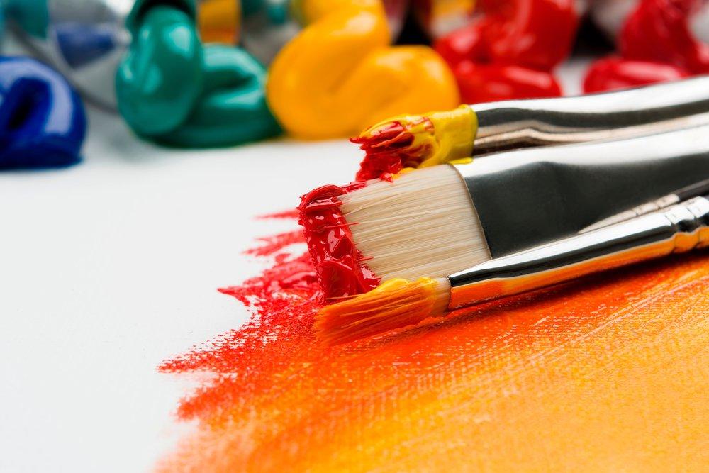 Paintbrushes and paint by Anna Kolosyuk