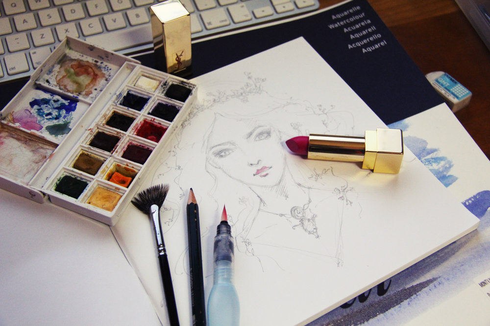 Watercolor Palette - A tint of YSL Rouge Couture