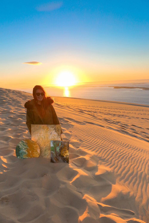 sunset at Dune de pyla, pouring art