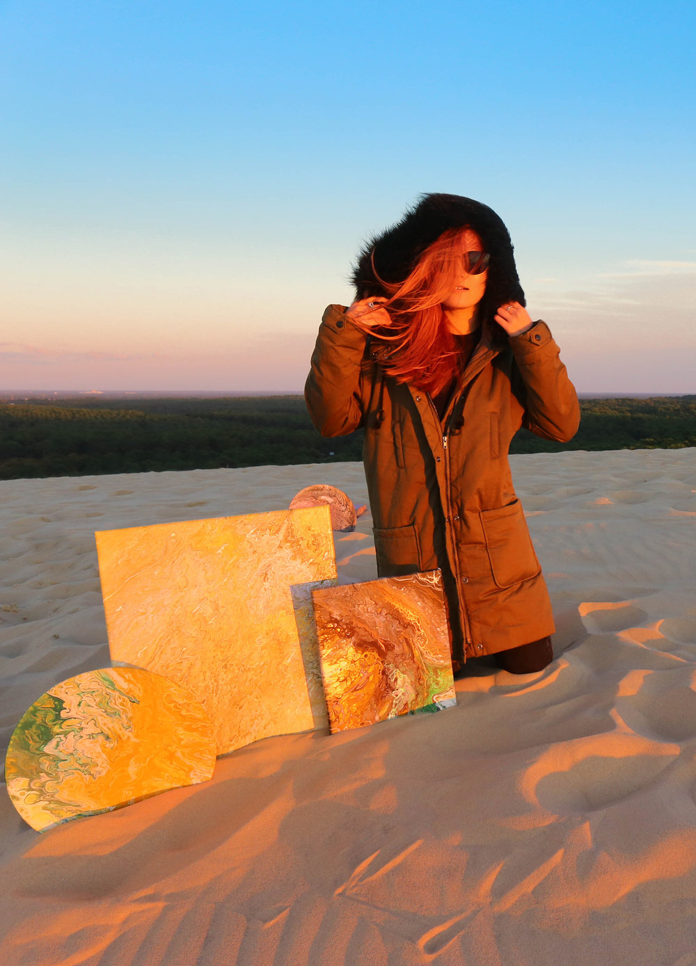sunset at Dune de pyla, pouring art by twopartsofone