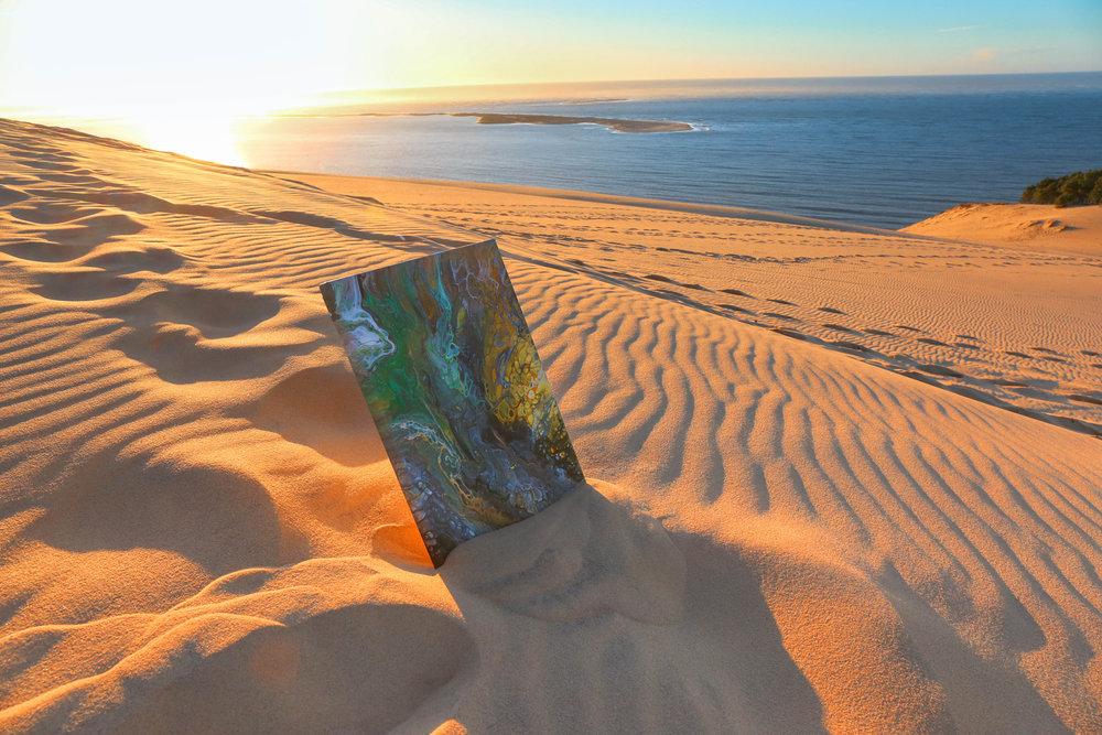 Dune de pyla, pouring art by twopartsofone
