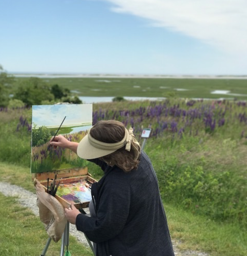 Painting at one of my most favorite spots, Fort Hill, in my home town of Eastham, MA. Beautiful in every season, beginning with the wild lupines in spring.