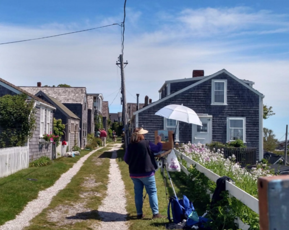 Painting in Sconset on Nantucket. I could paint here forever!