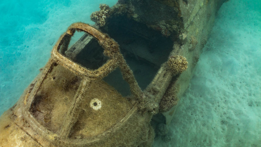 Photograph a World Ware 2 Plane Wreck in water (Looking down on cockpit from front)