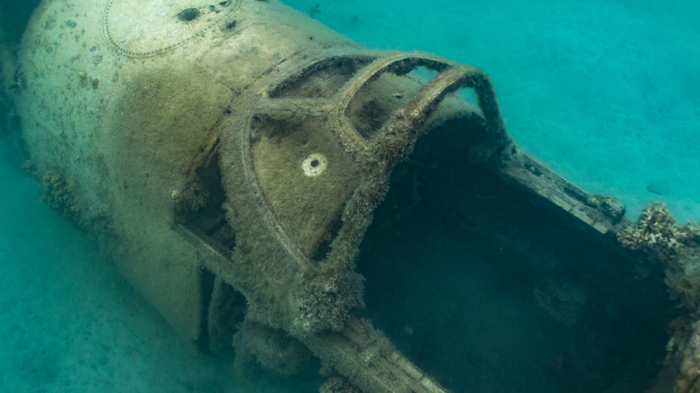 Photograph a World Ware 2 Plane Wreck in water (Looking down on cockpit from behind)