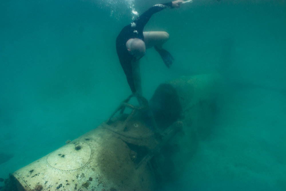 Snorkel on a World War 2 Plane Wreck, Efate, Vanuatu (Enter the cockpit).jpg