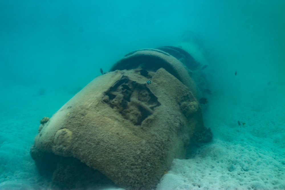 Snorkel on a World War 2 Plane Wreck, Efate, Vanuatu (Engine bay)