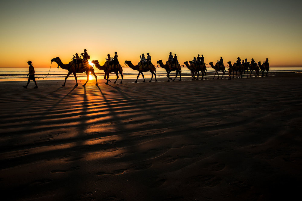 Sunset on Cable Beach on top a camel, Broome, WA