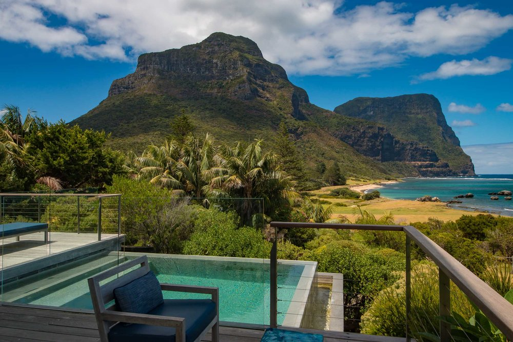 The Capella Lodge view over Mount Gower and Mount Lidgbird, Lord Howe Island