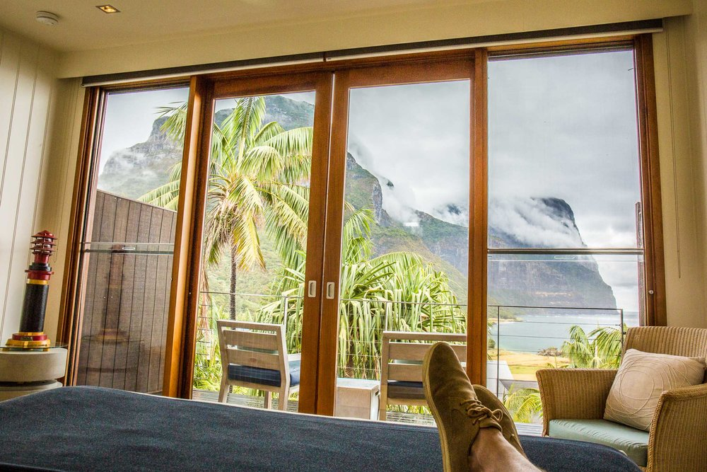 Capella Lodge, Lagoon Loft view from the bed, Lord Howe Island