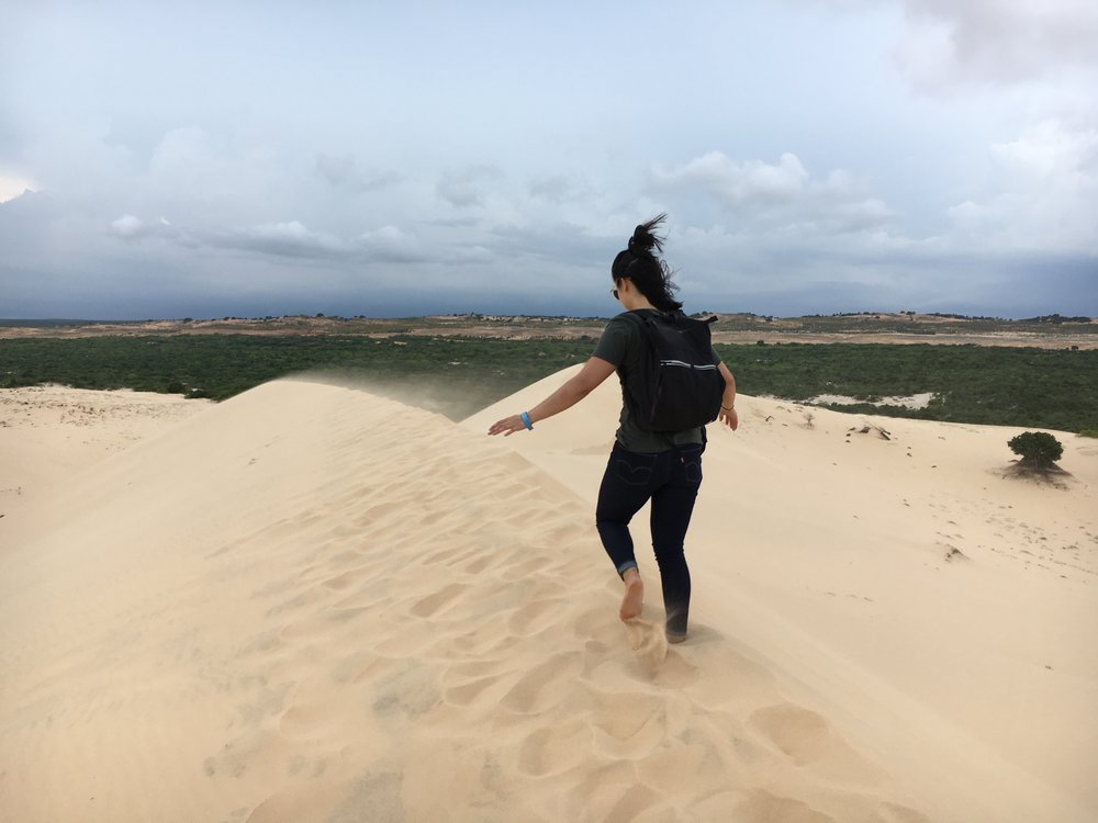 Making sure I do not slip and slide in the White Sand Dunes of Mũi Né.