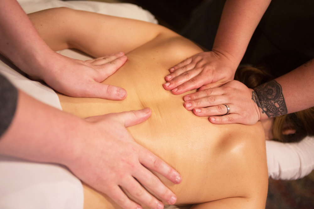 FOUR HAND MASSAGE   The relaxation of a normal massage, amplified. Two massage therapists working in tandem on your muscles for an experience that has to be felt to be believed.  90-minute session: $133
