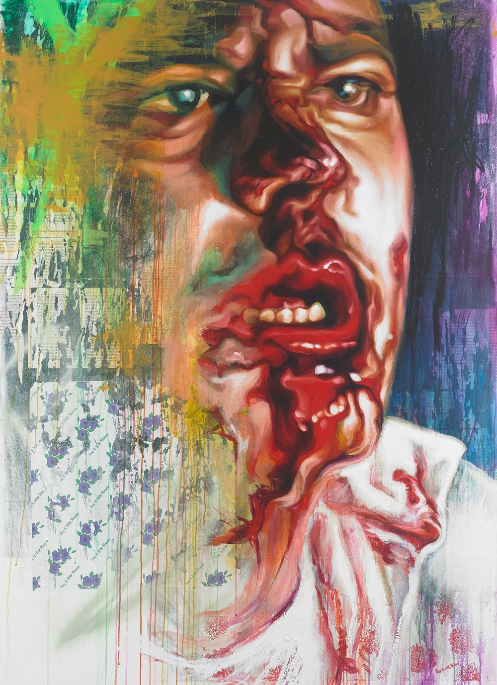 Punching Bag Portrait   Mixed Media on Canvas 57in x 78in