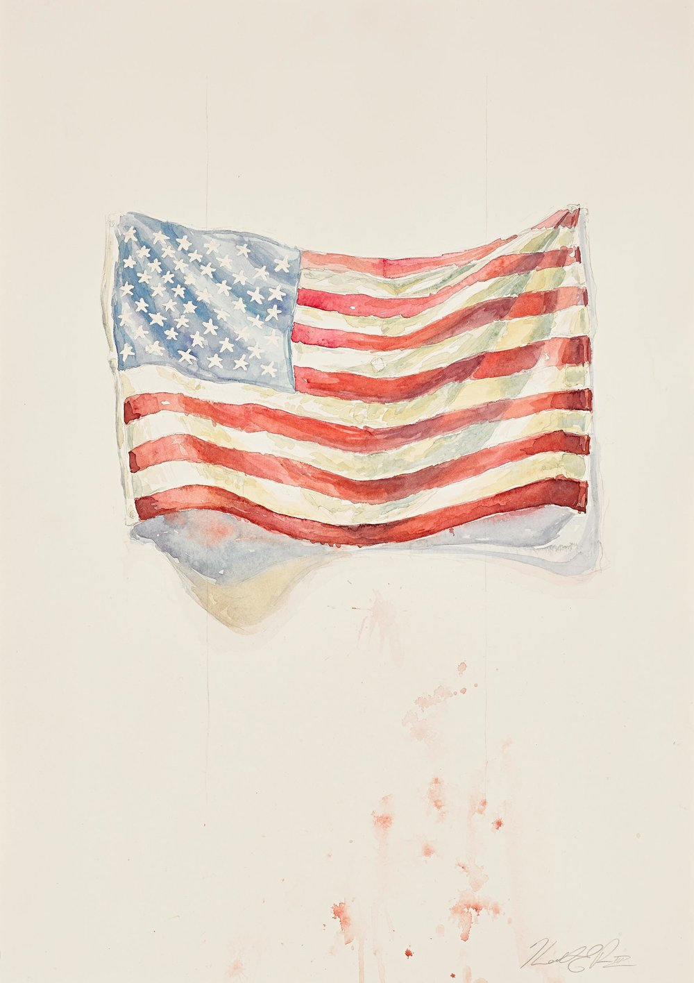 Draped Flag   Watercolor on Paper 14in x 20in