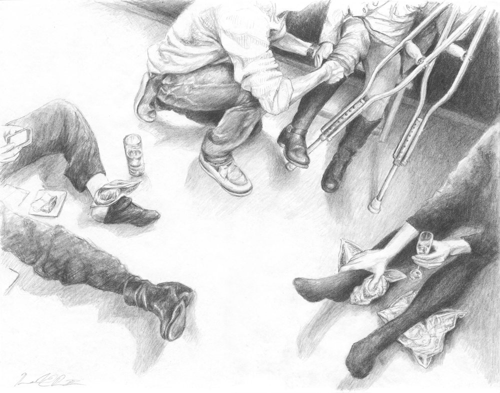 After Show Reception, Kennedy Center   Graphite on Paper 14in x 11in