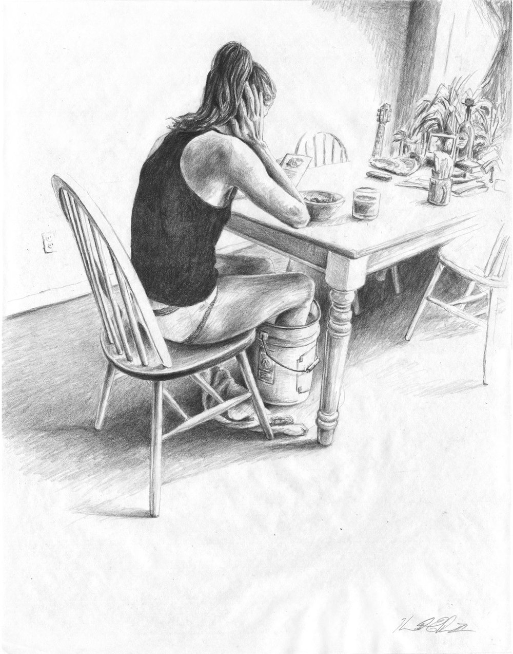 Breakfast At Home, Brooklyn   Graphite on Paper 11in x 14in