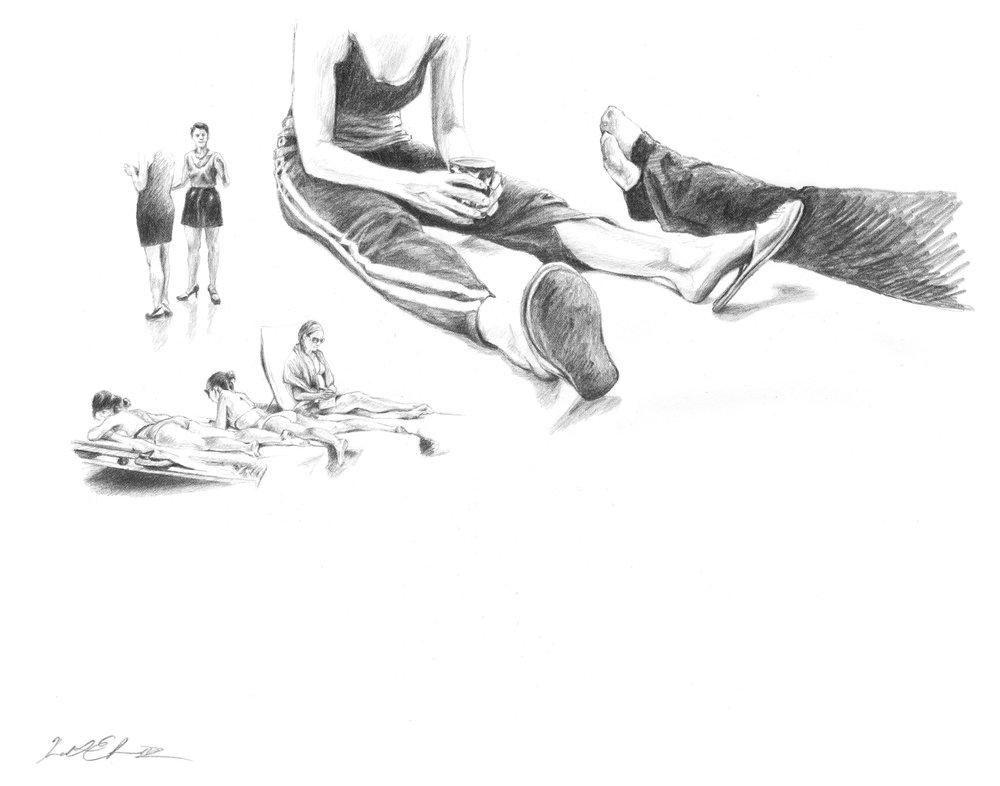 Legs In Monaco & Miami   Graphite on Paper 14in x 11in