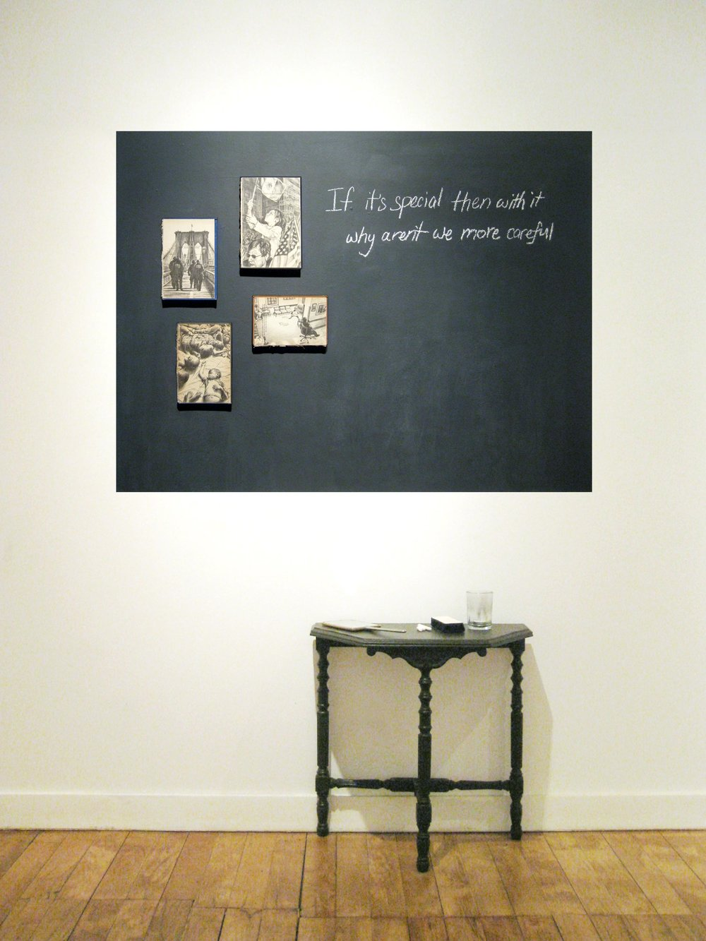 Please Pronunciate   Mixed Media Installation: Graphite drawings inside book covers, chalkboard wall, handheld mirror, chalk, eraser 51in x 78in x 12in deep