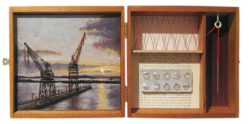 General Glut   Mixed Media Cigar Box Installation 15.25in x 7.5in x 3in deep
