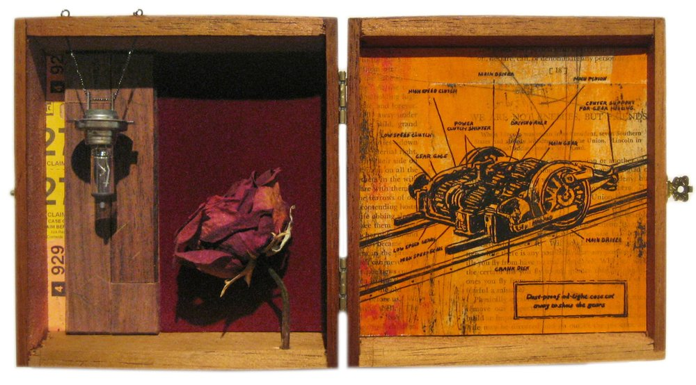 Say's Suppression   Mixed Media Cigar Box Installation 12.5in x 6.75in x 3in deep