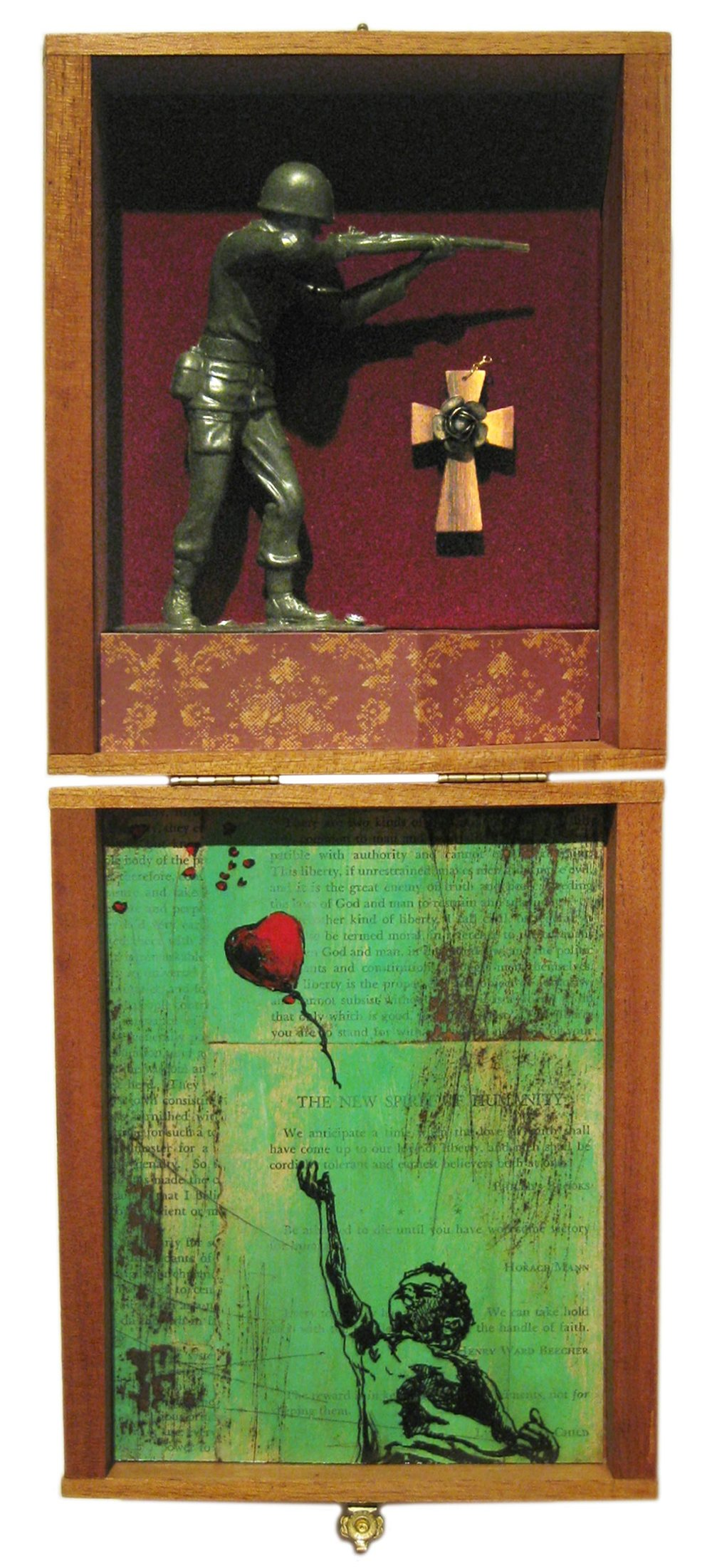 Boyhood Bravery   Mixed Media Cigar Box Installation 7in x 16.25in x 3in deep