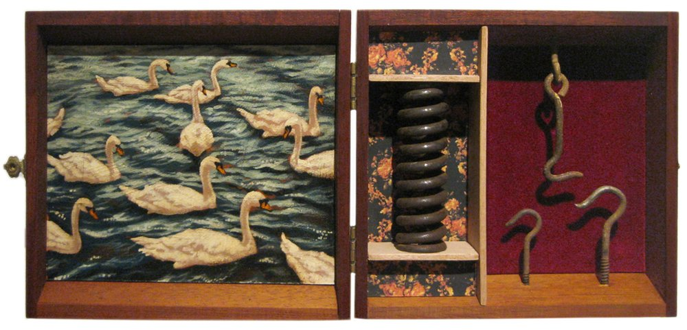 Veneer and Turpentine   Mixed Media Cigar Box Installation 15in x 6.75in x 3in deep