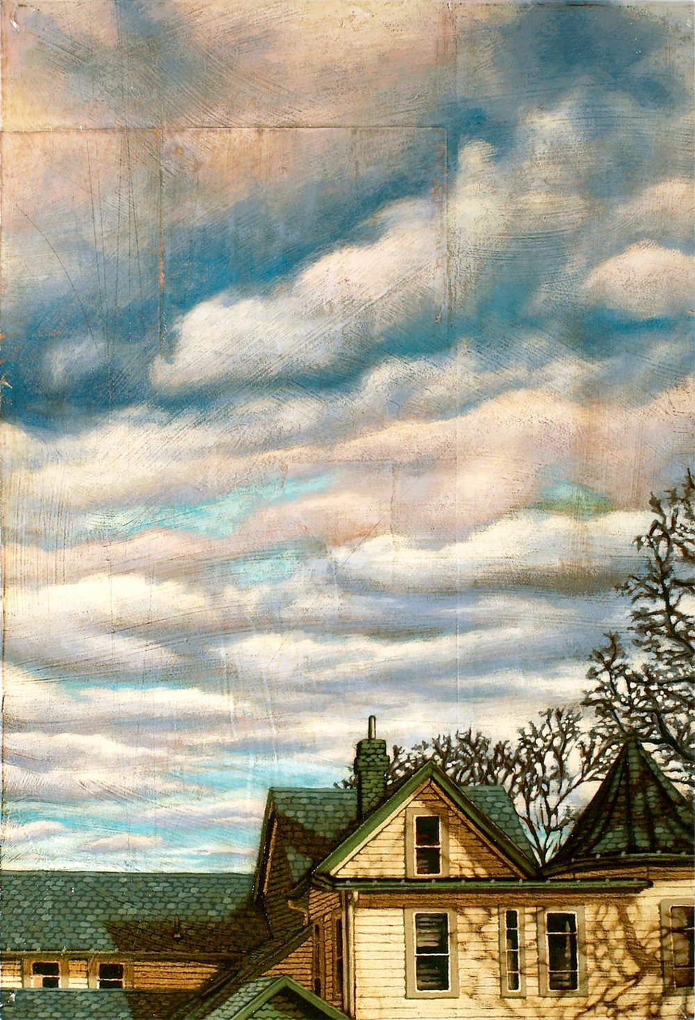 Home That Day   Mixed Media Painting 12.25in x 18.25in