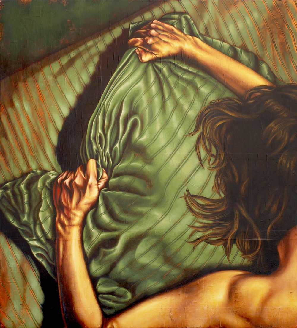 Hands Gripping Pillow   Mixed Media Painting 60in x 66in