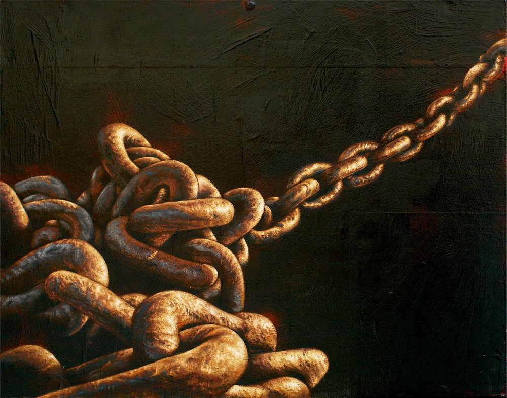 Chains Holding   Mixed Media Painting 22in x 18in
