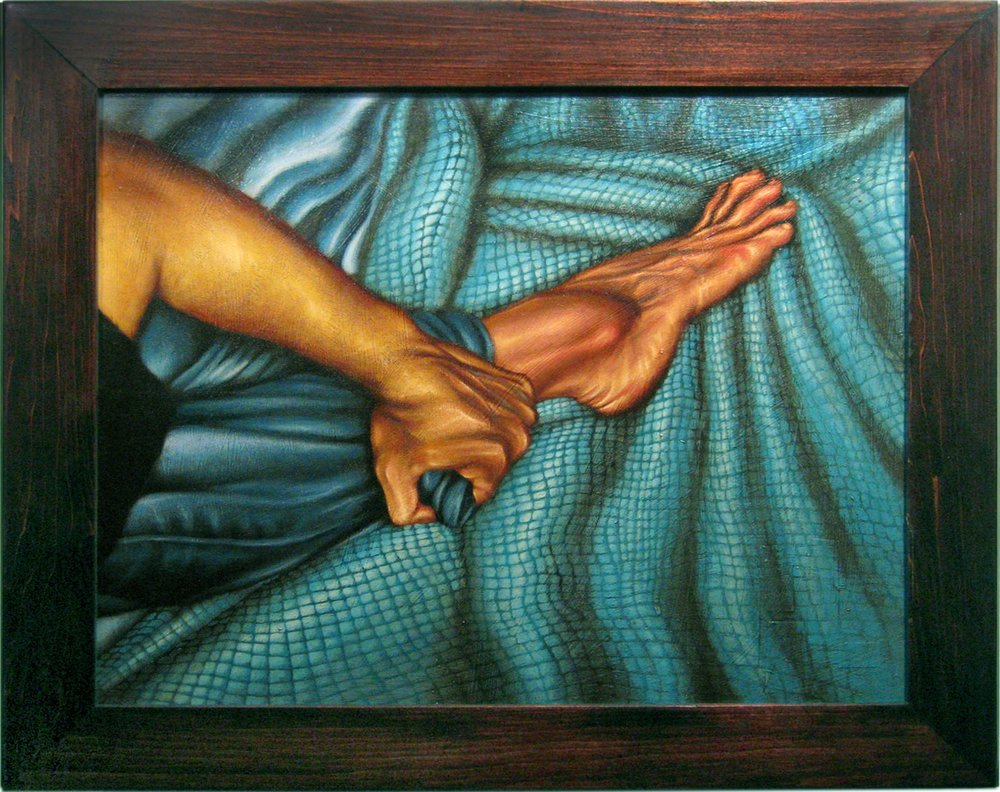 Hand Grasping Ankle   Mixed Media Painting 22in x 18in