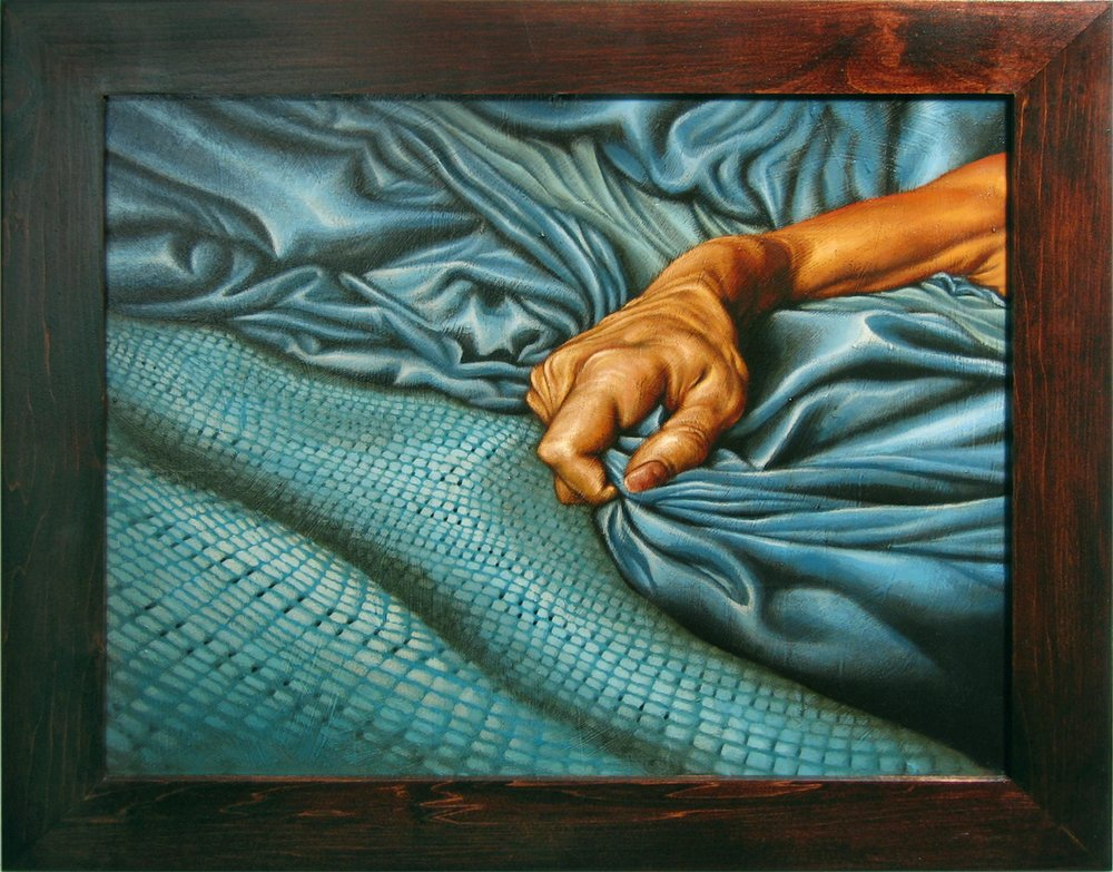 Hand Grasping Bedding   Mixed Media Painting 22in x 18in