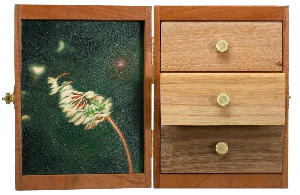 One Way Of Doing It   Mixed Media Cigar Box Installation 11.5in x 7.75in x 3in deep