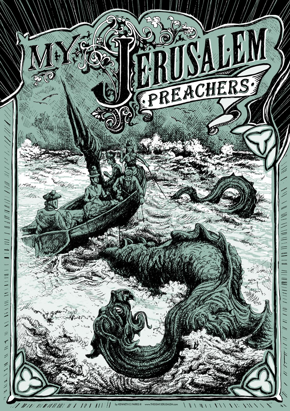 "Limited edition silk-screened ""Preachers"" sea monster poster"