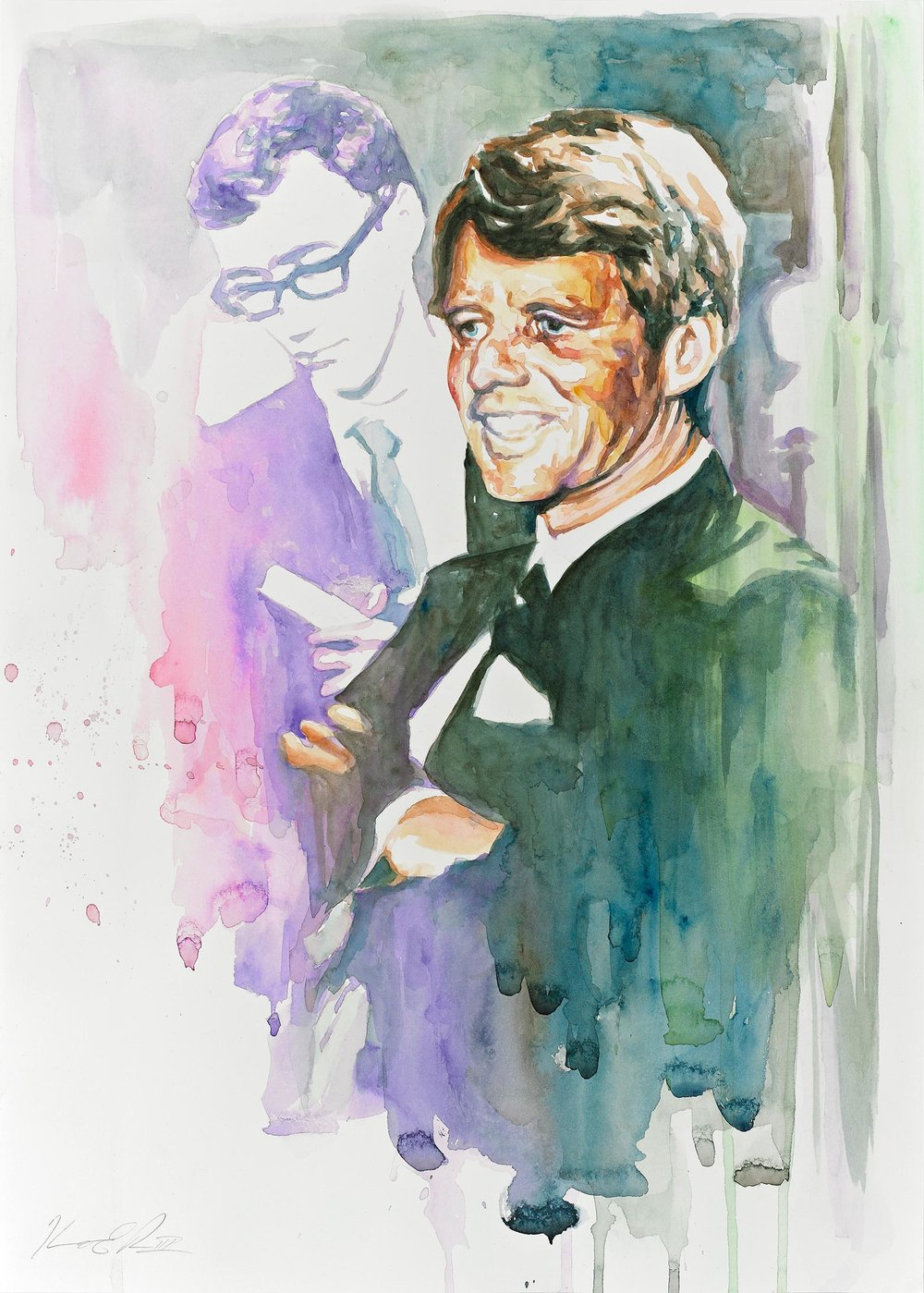 Robert F. Kennedy, Study   Watercolor on Paper 14in x 20in