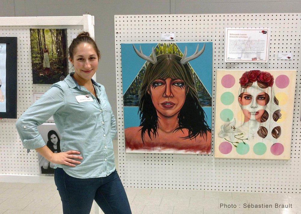 Oeuvres de Mélissande Lauzon artiste peintre à l'exposition Vocation en Art.