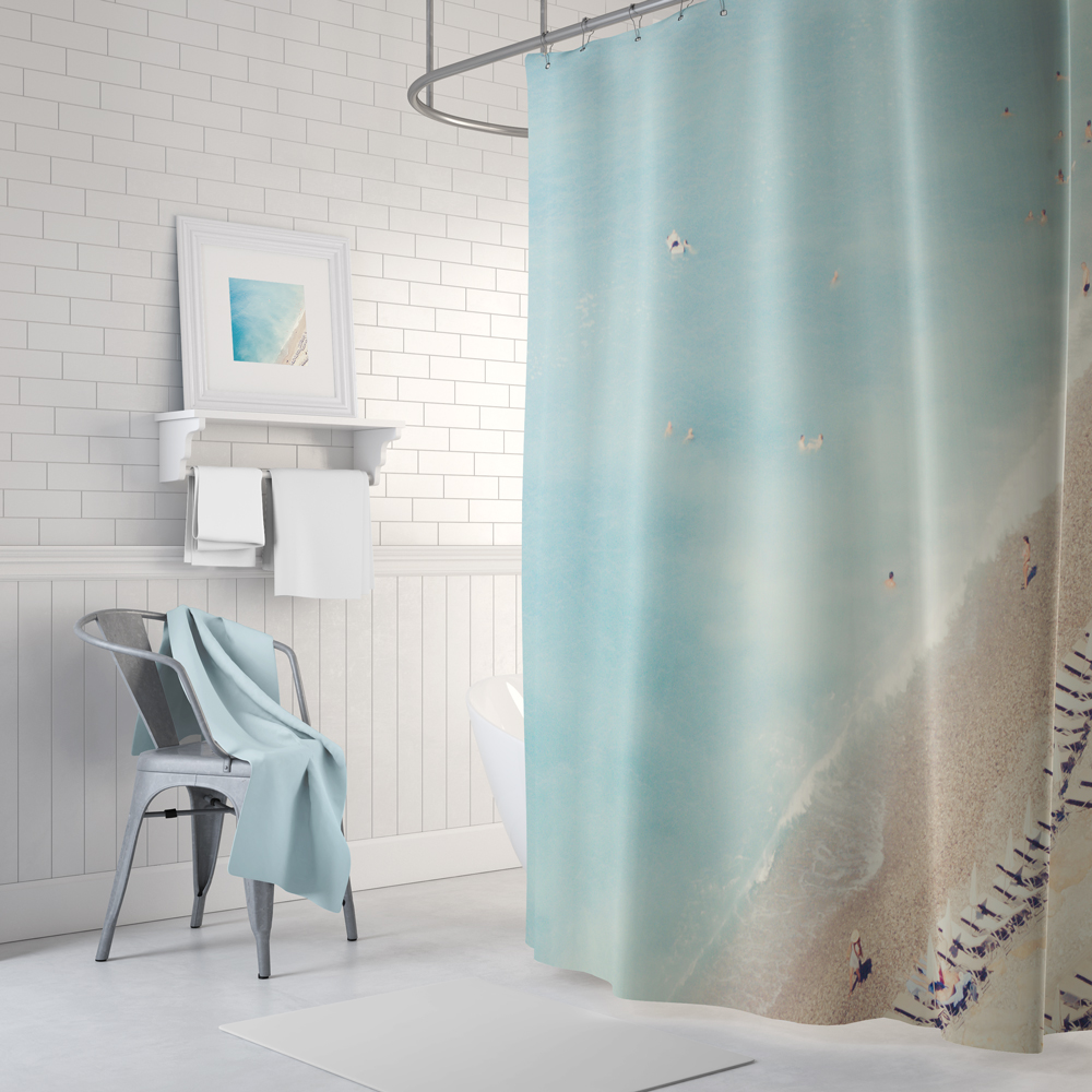 aerial beach shower curtain