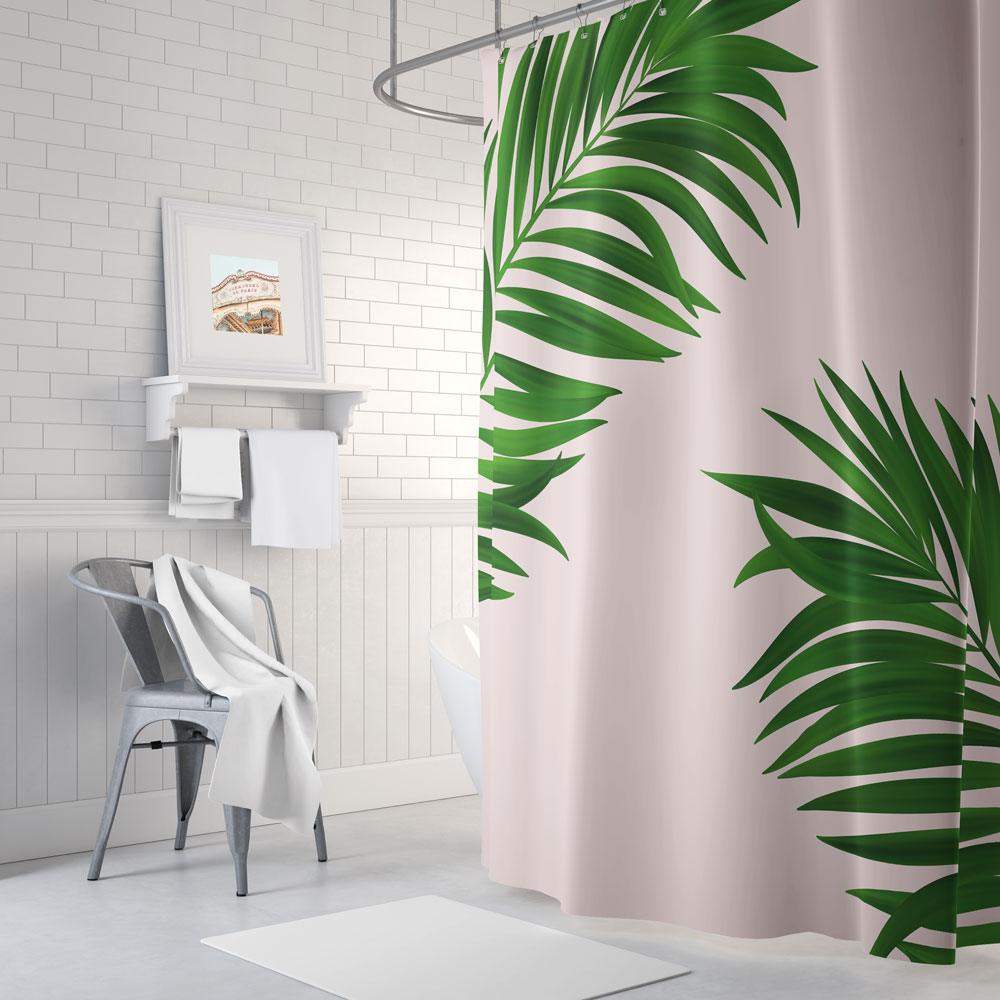 Palm Print Shower Curtain In Green And Pink