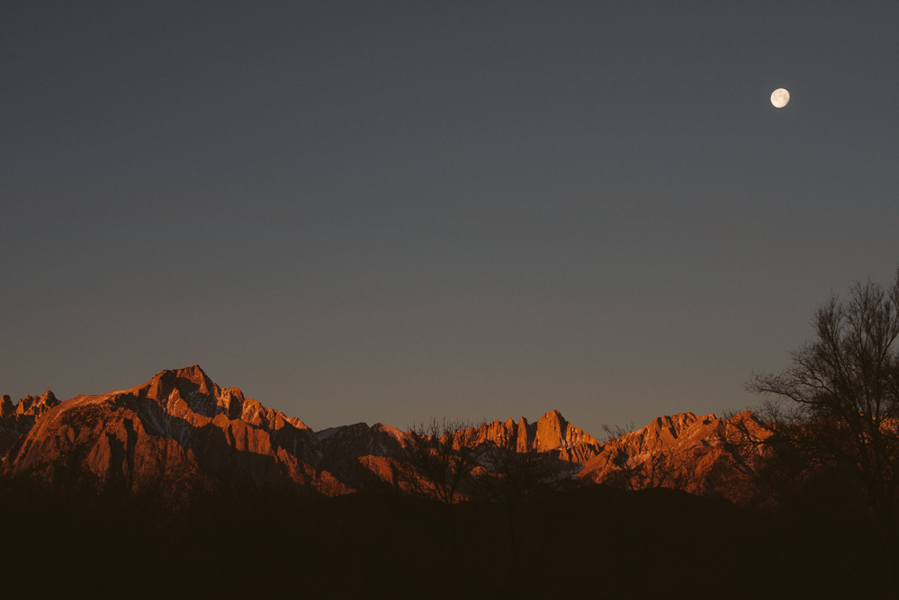 Sunrise and moon set over Mt. Whitney