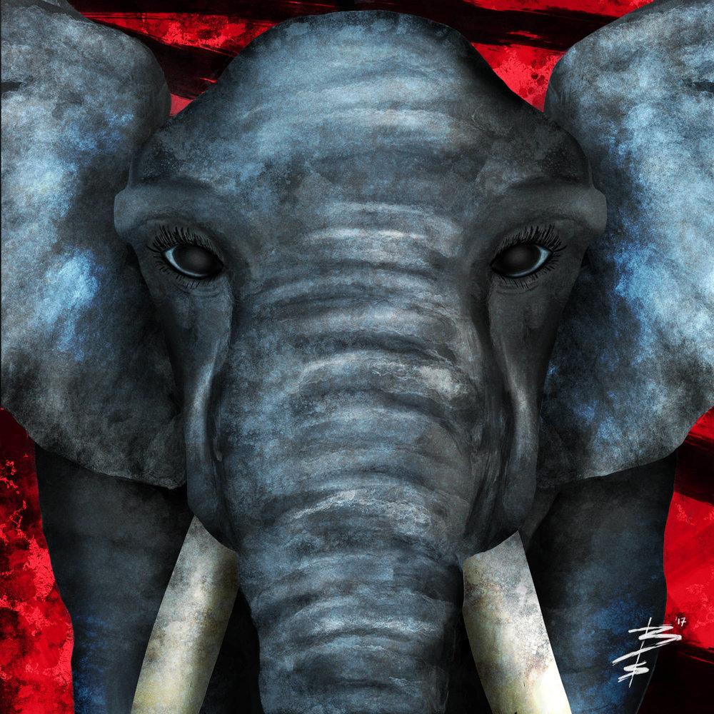 Big Eyes - Surreal Elephant Abstract Animal Art Print