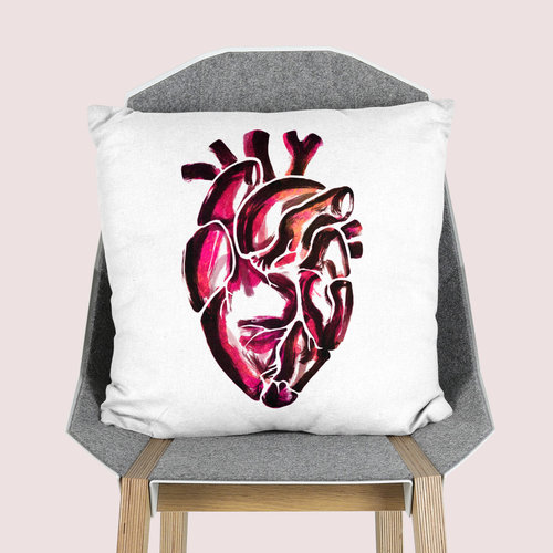 Anatomical Heart | Handmade Canvas Throw Pillow Case | 18 x 18 ...