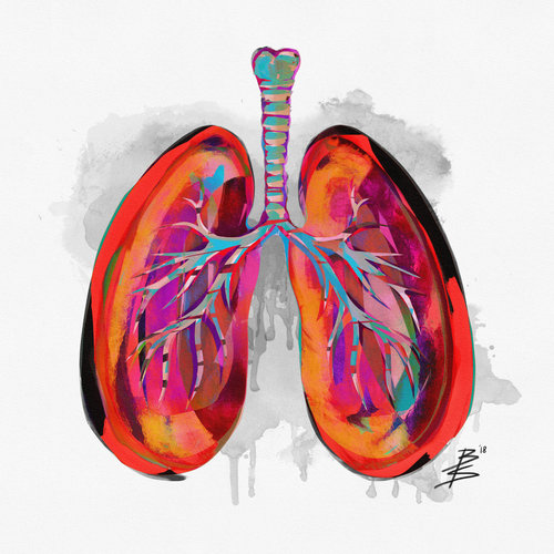 100 | #JUSTBREATHE | Surreal Human Lungs Anatomy | Square Art Print ...