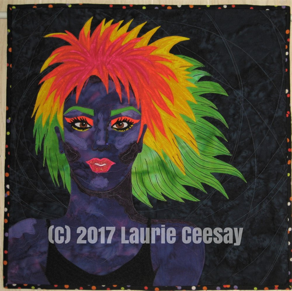 "Here is the first quilt titled ""Black Light"" which I mailed it to Houston TX on Tuesday. I had no idea a hurricane would close the IQF offices on Friday and beyond and I pray that it is safety tucked away at the local post office and all people are safe."