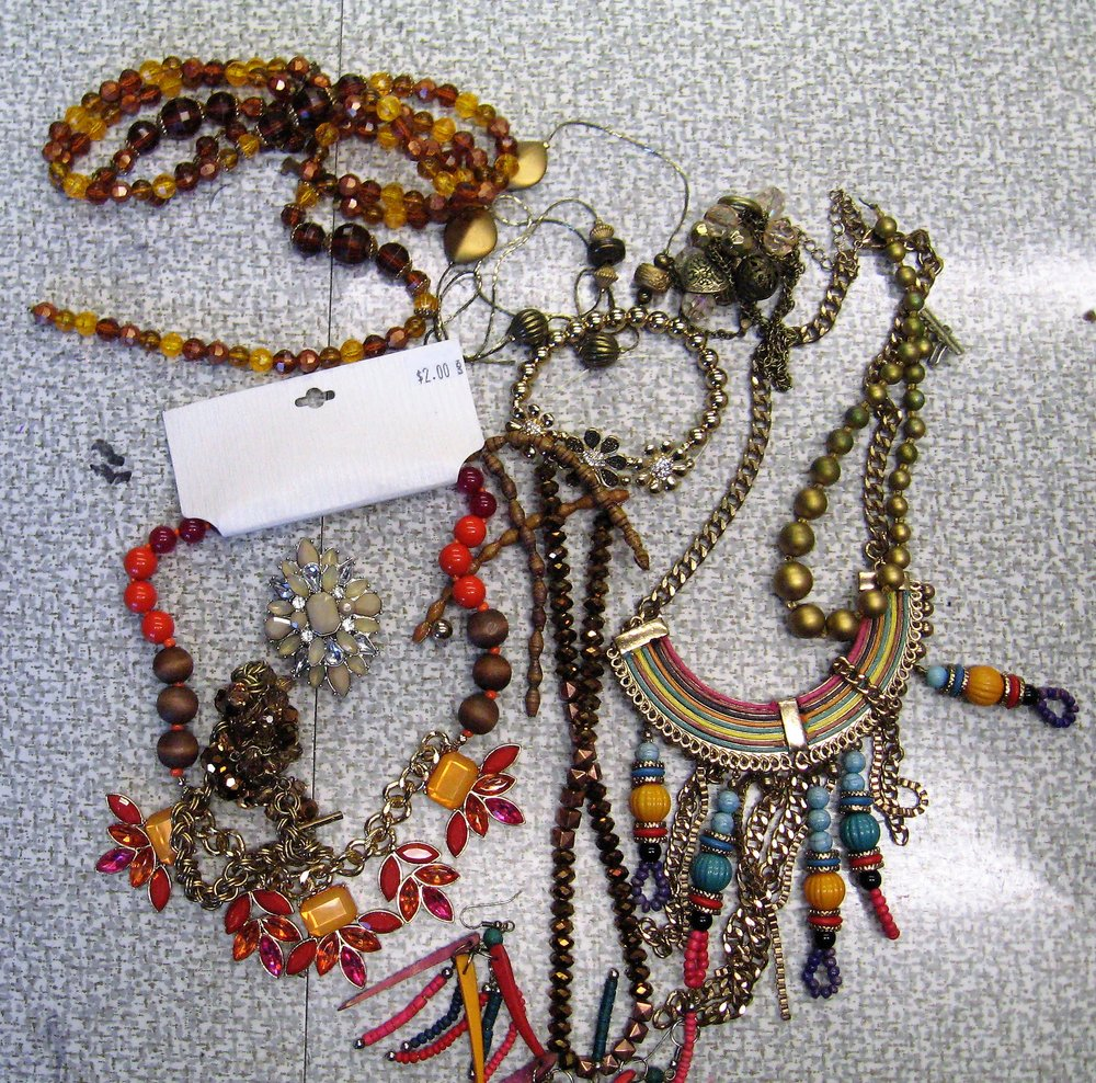 My stash of junk jewelry I have collected or been gifted-I used some of it and still needed to purchase the jump rings and smaller brown seed beads.