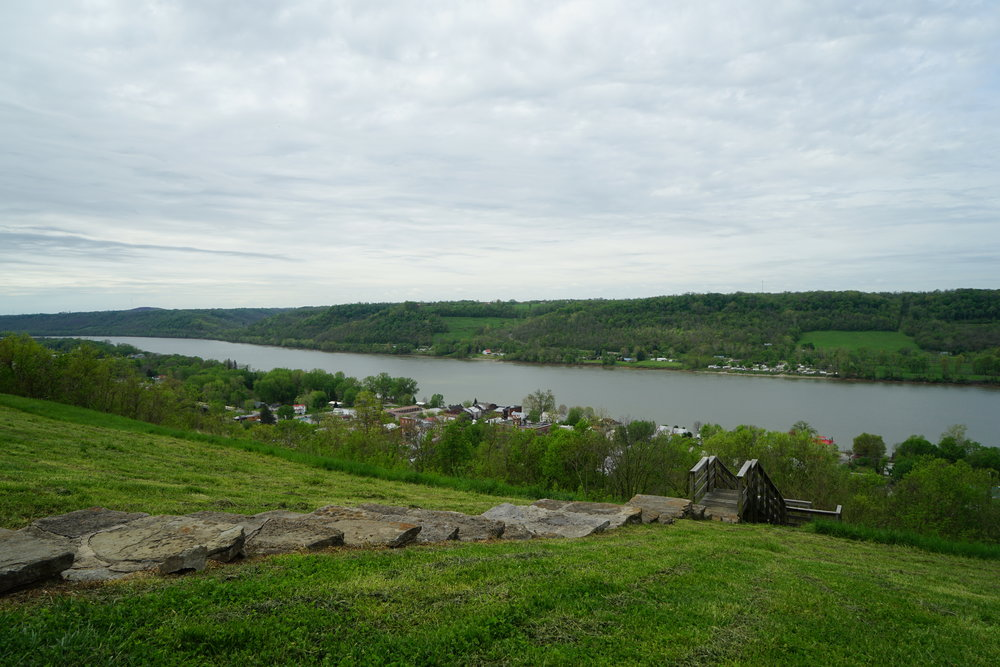 View of the Ohio River from the backyard of The John Rankin House.
